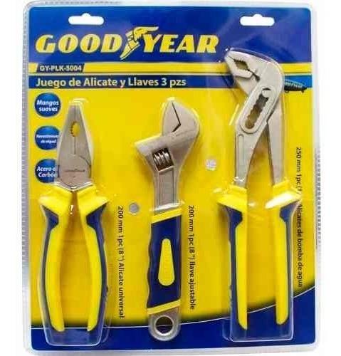 set 3 alicates ajustables pinza llave pico de loro good year