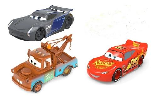 set 3 autos frición cars 3 mate rayo mcqueen original 13 cm
