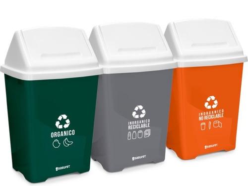 set 3 botes basura ecologicos para reciclaje 20lt nadf-024