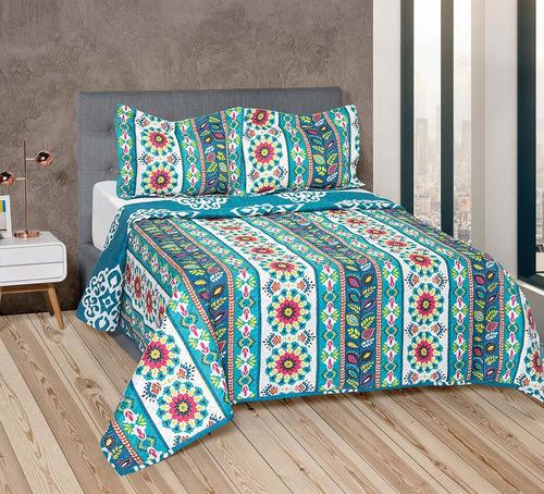 set 3 covers quilt cubrecamas 1 1/2 plz le karim estampadas