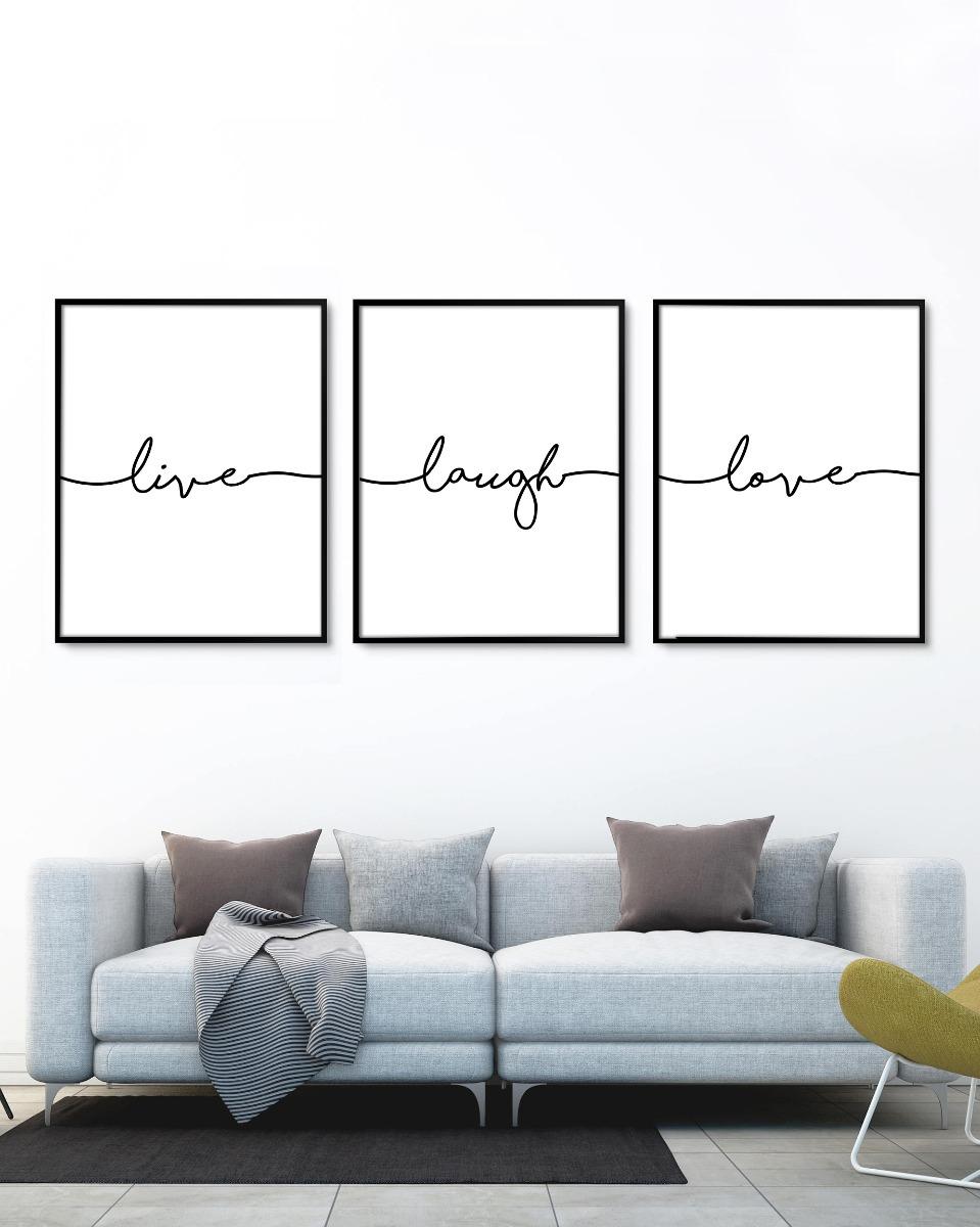 Set 3 Cuadros Live Laugh Love (50x70 Marco Chato Negro) - $ 3.930,00 ...