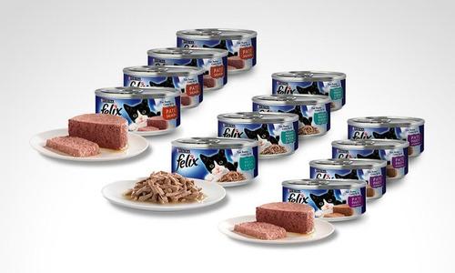set 3 latas felix para gatos - kg a $43
