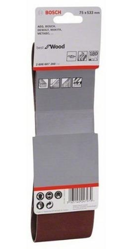 set 3 lijas de banda 75x533 grano 180 bosch lijadora banda