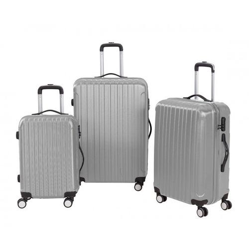 set 3 maletas rígidas con giro 360ª color plata
