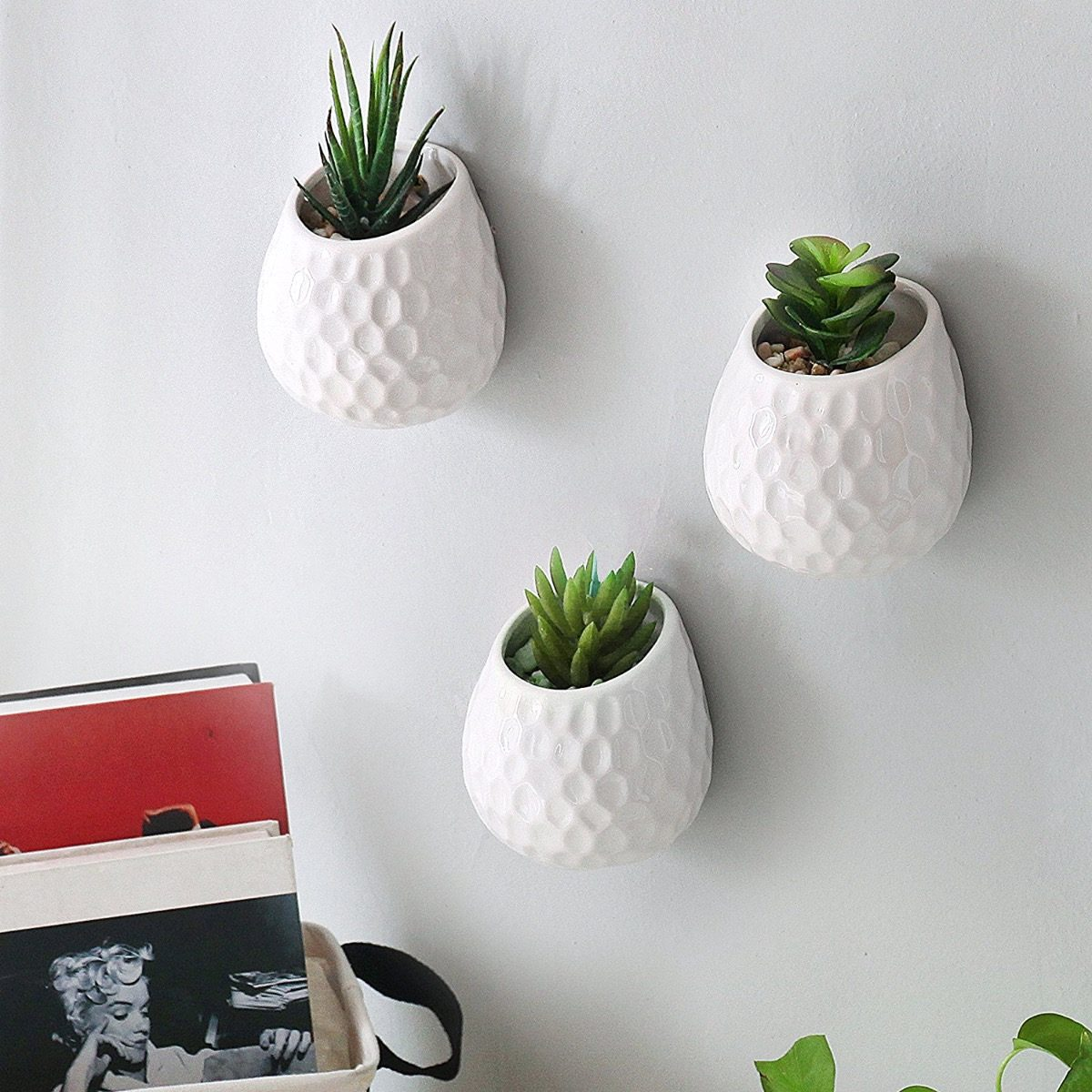 Set 3 mini macetas de pared minimalistas ceramica - Macetas de pared ...