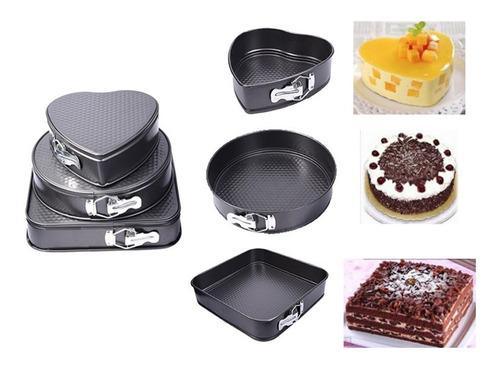 set 3 moldes variados repostería queque tortas antiadherente