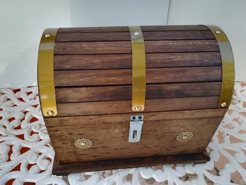 set 3 piezas baúl cofre rustico de madera