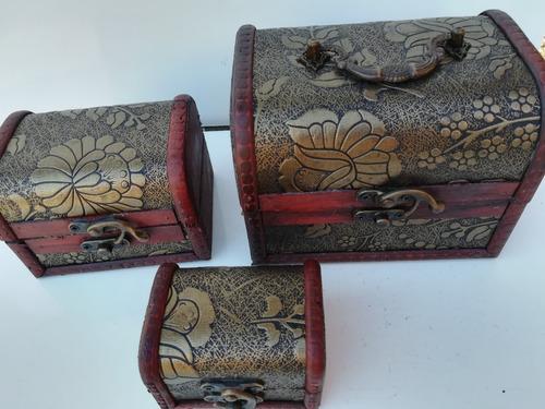 set 3 piezas baúl cofre vintage