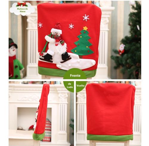 set 3 piezas cubierta funda santa silla navidad comedor