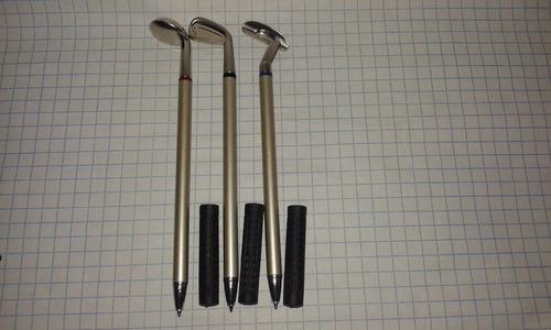 set 3 plumas palos golf metal caja regalo