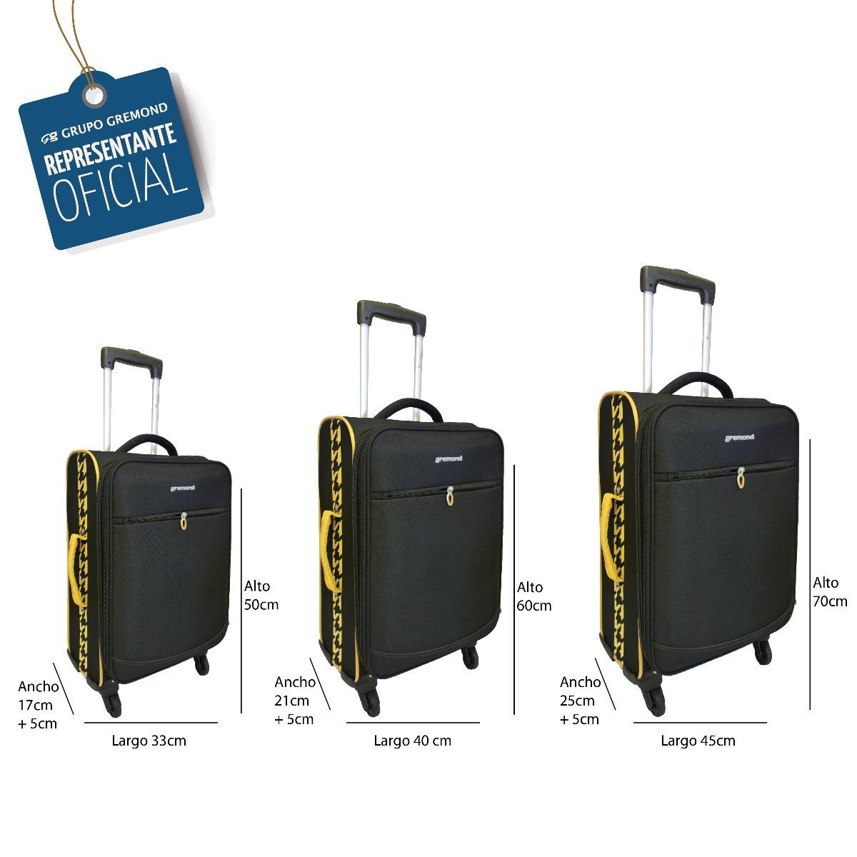 9007069e9 set 3 valijas grande mediana cabina transit gremond maletas. Cargando zoom.