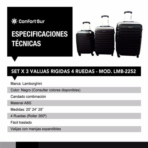 set 3 valijas rígidas reforzadas lamborghini 2252 **4