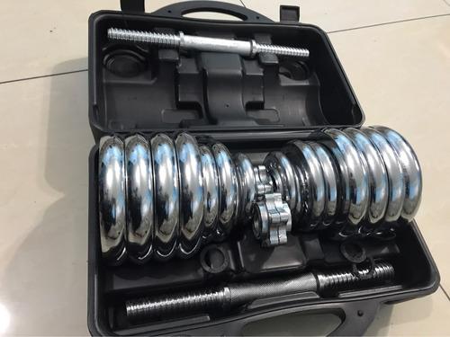 set 30 kg mancuernas cromadas +barra + maletin