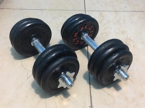 set 32 kilos pesas + mancuernas cromadas