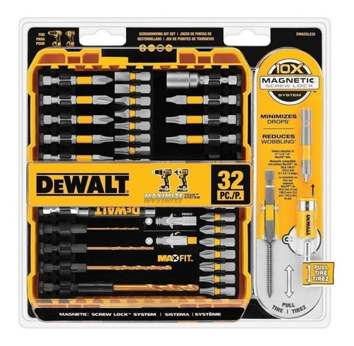 set 32 pzas maxfit set w/ screw lock sleeve dewalt dwa2sls32