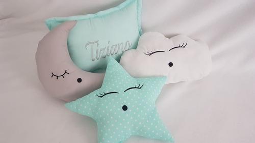 set 4 almohadones personalizado complemento  cuna bebe