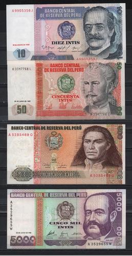 set 4 billetes perú 1986 1988 intis montaña cosecha exc cond