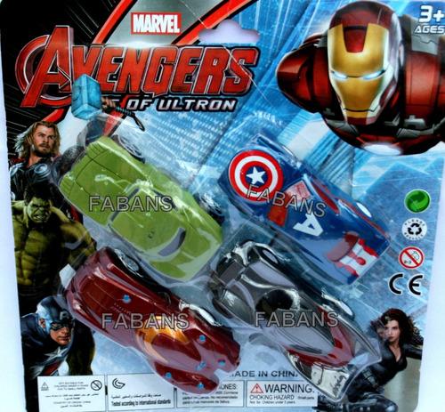 set 4 carros vengadores capitan hulk iron carritos avengers