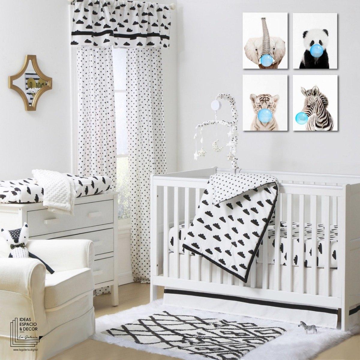 Set 4 cuadros cuarto beb ni o y ni a animalitos en canvas for Cuadros habitacion bebe