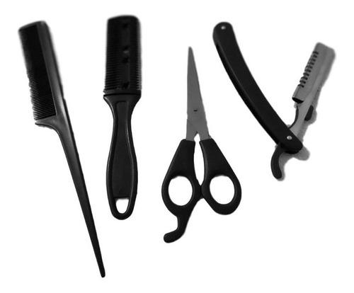 set 4 en 1 barberia 1 tijera 1 peine 1 navaja y 1 navajin