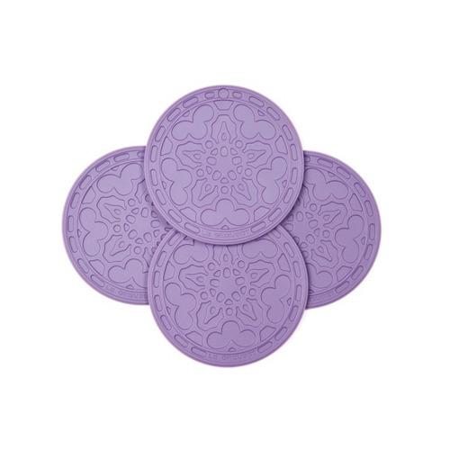 set 4 mini salvamanteles silicona violeta marca le creuset