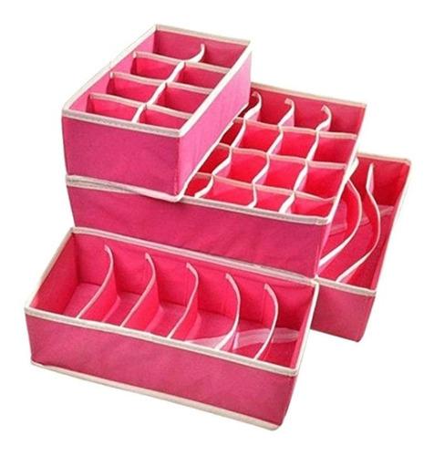 set 4 organizadores plegables cajones ropa interior rosa
