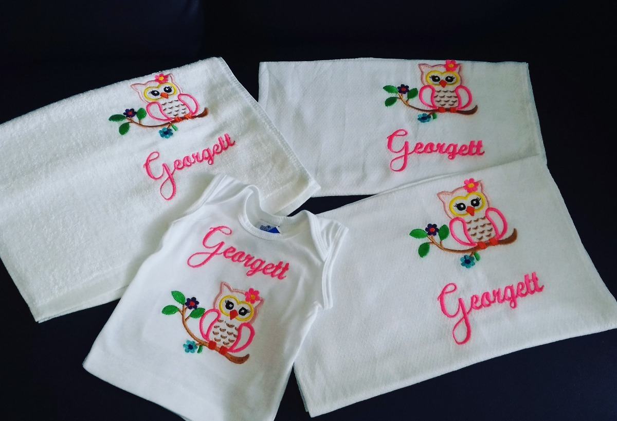 Panales Bordados Para Bebes.Set 4 Piezas Para Bebes Toalla Panal De Tela Almilla Bordado