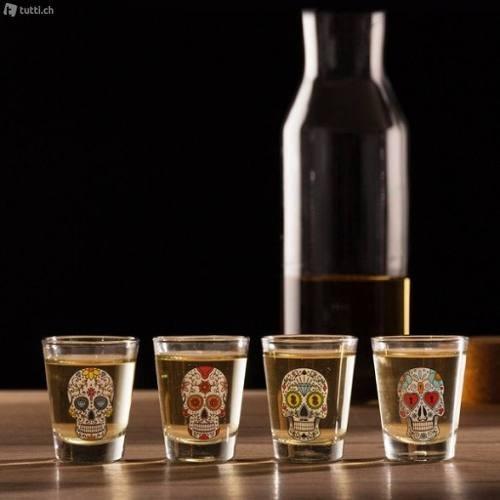 set  4 shot vidrio calavera mexicana tequila cortito