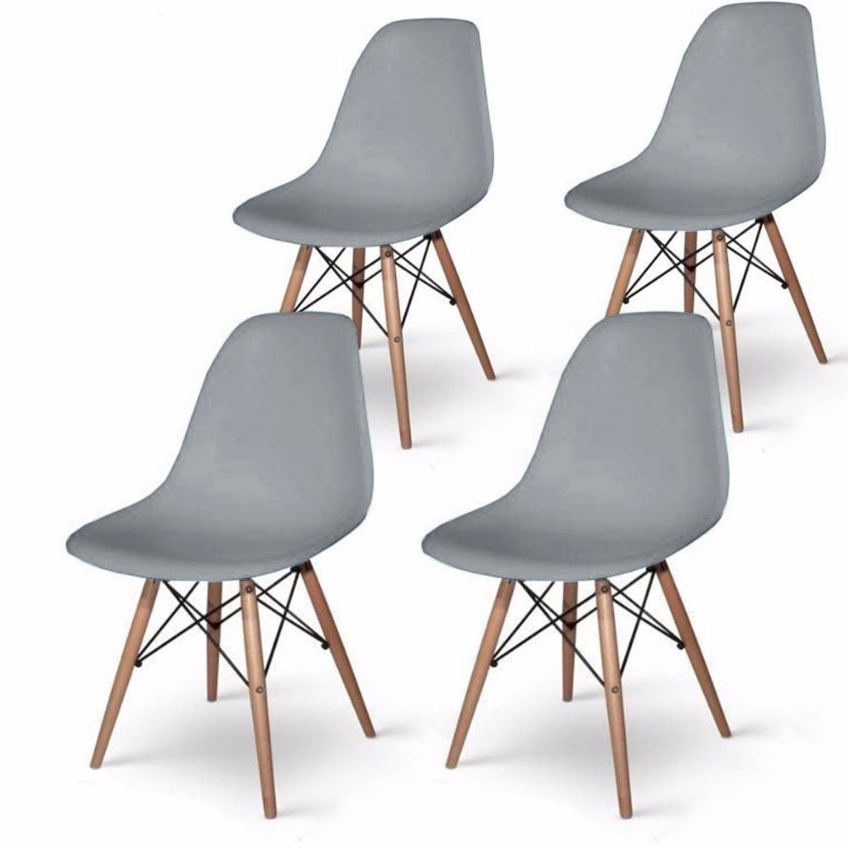 Set 4 sillas eames gris decoraci n interior modernas for Sillas modernas vintage