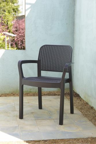 set 4 sillas tipo rattan samanna de allibert exterior jardin