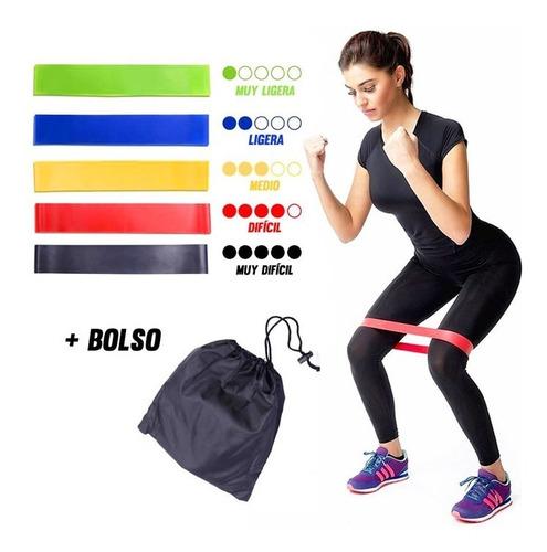 set 5 bandas elásticas resistencia ejercicio entrenamiento