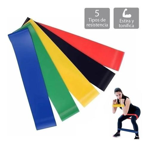 set 5 bandas elásticas resistencia entrenamiento ejercicio