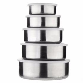 Set 5 Bowls De Acero Inoxidable Con Tapa Tuppers Metalico
