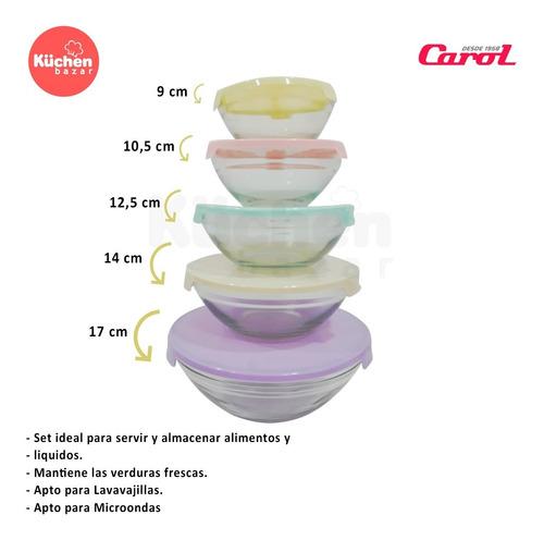 set 5 bowls de vidrio con tapa carol soft