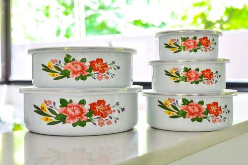 set 5 bowls enlozado y decorado con tapa plastica carol