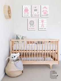 Set 5 Cuadros Cuarto Bebé Niño Niña En Rosa Y Azul Animalitos En Canvas Algodón Tintas Ecológicas Montados En Bastidor