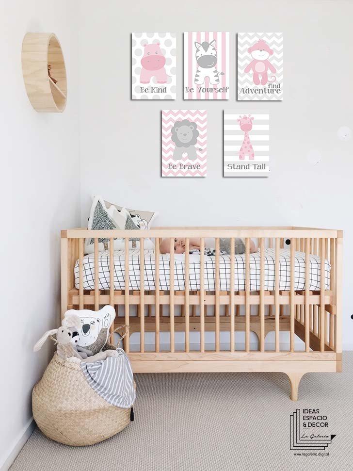 Set 5 cuadros cuarto beb ni o y ni a animalitos en canvas for Cuadros habitacion bebe