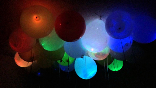 set 5 globos luces led colores eventos pack x5 luz led