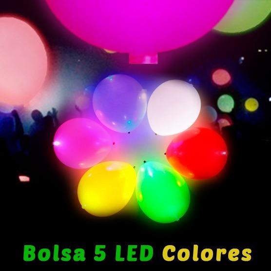 Set 5 Globos Luces Led Colores Eventos Pack X5 Luz Led - $ 84,00 en ...