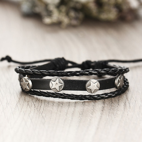 set 5 pulsera manilla brazalete de cuero pluma hombre mujer