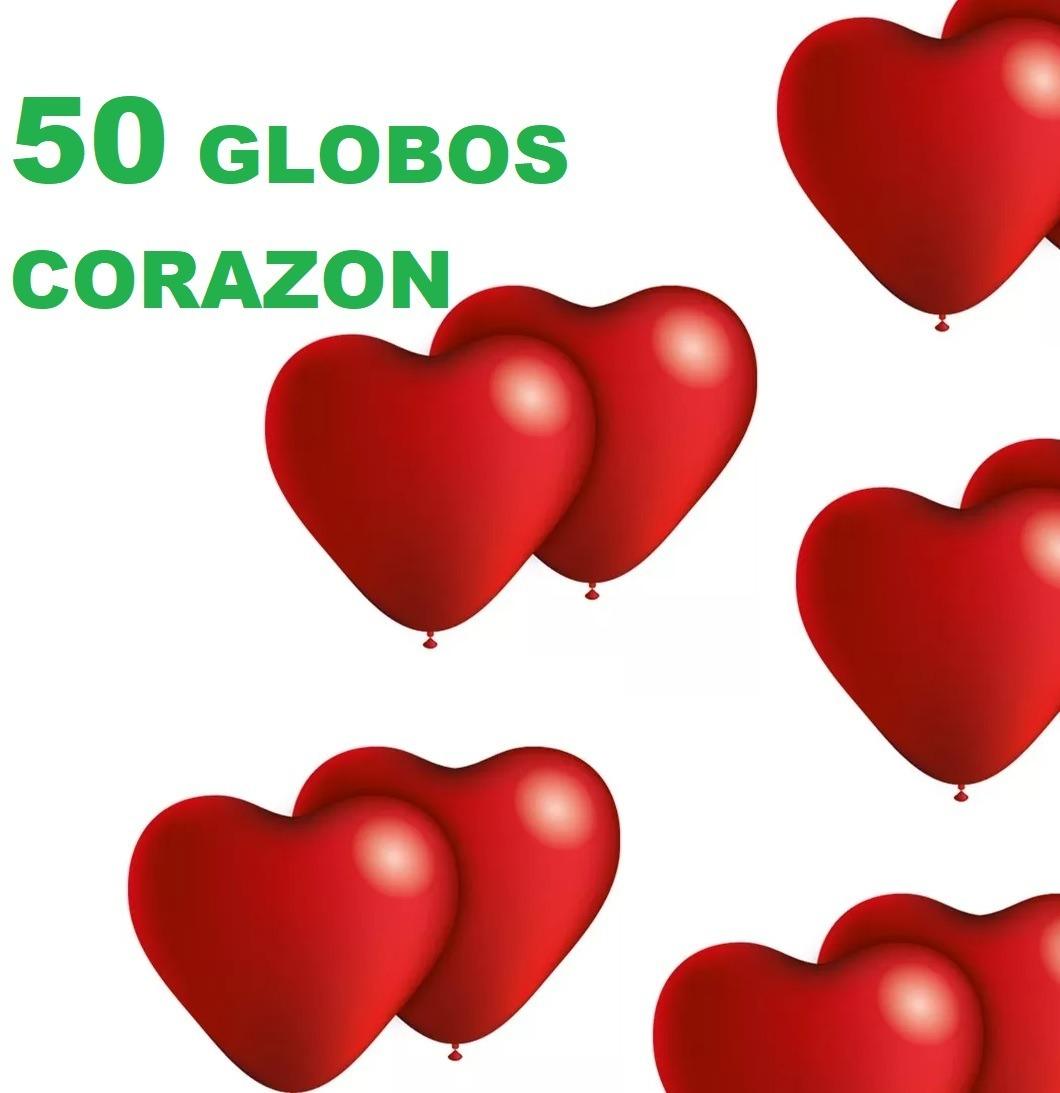 Set 50 Globos Corazon Para Aire O Helio Día De La Madre