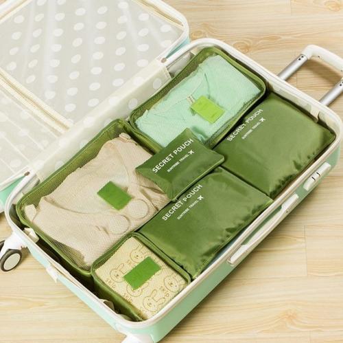 set 6 bolsas de viaje empacar organizar maleta hombre mujer