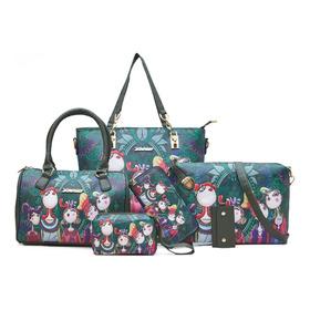 Set 6 Bolsas Floral Moda Elegante Mujer Estampado Versatil