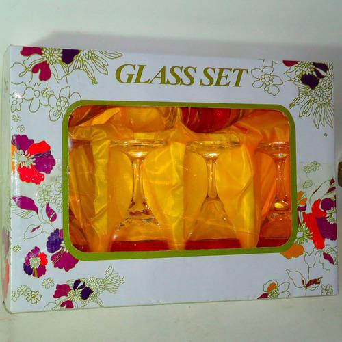 set 6 copas tallado laser folia oro,16 cm. 3 copas con pifia