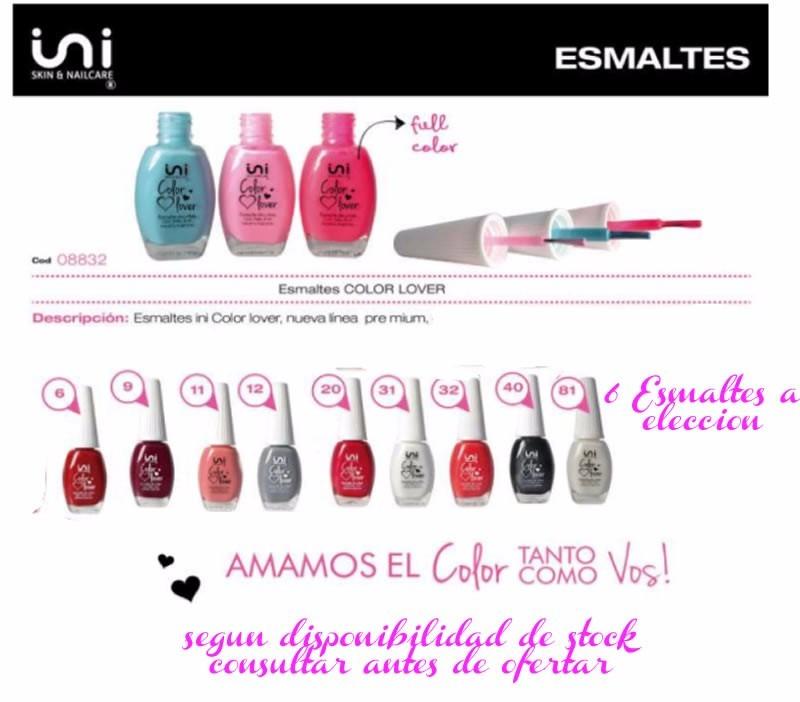 Set 6 Esmaltes Ini Color Lover A Eleccion Linea Premium Uñas - $ 499 ...