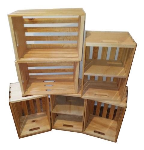 set 6 huacales madera 2 c entrepaño