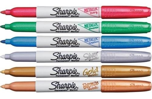 set 6 marcadores sharpie metalizado fino - marcador metalico