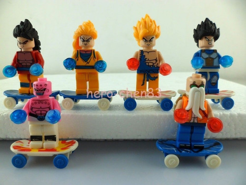 set 6 minifiguras goku  compatible con lego