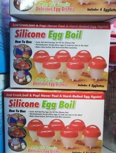 set 6 molde silicona antiadherente para cocción de huevos.