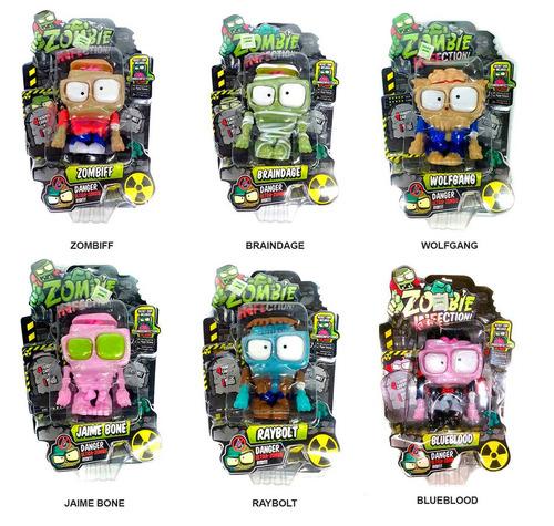 set 6 muñecos zombie infection con movimiento 11cm